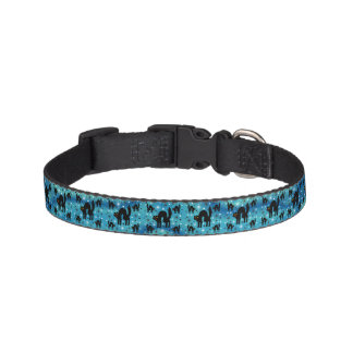Retro Black Cats Fantasy with Starbursts on Blue Pet Collar