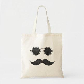 Retro Black Glasses and Mustache Tote Bag