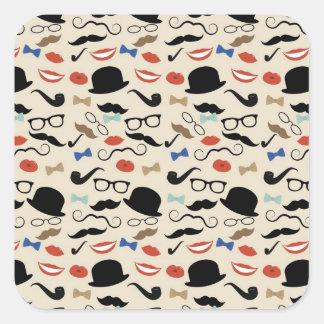 Retro Black Handlebar Mustache Pattern Sticker