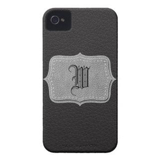 Retro Black Leather Personalized Monogram Case-Mate iPhone 4 Case