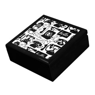 Retro Black or any color & White Telephone Pattern Jewelry Box