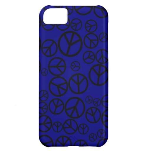 Retro Black Peace Signs on Navy Blue iPhone 5C Cover