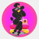 Retro Black Poodle on Phone Round Stickers