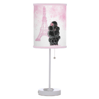 Retro Black Poodle Pink Eiffel Tower Table Lamp