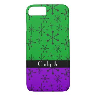 Retro Black Stars w/ Green & Purple, Personalized Case-Mate iPhone Case