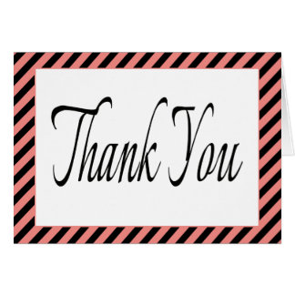 Retro Black Thank You Pink & Black Stripes Note Card