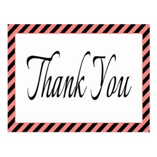 Retro Black Thank You Pink & Black Stripes Postcard