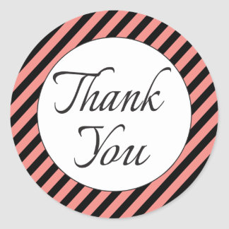 Retro Black Thank You With Pink And Black Stripes Round Sticker