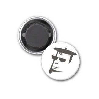 Retro Black & White Beatnik Hipster Magnet
