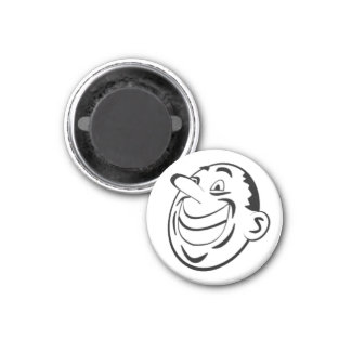 Retro Black & White Comic Happy Man Face Magnet