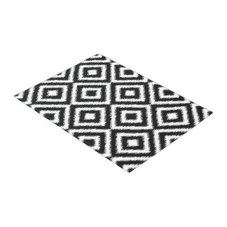 Retro Black White Ikat Diamond Squares Pattern Doormat