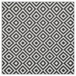 Retro Black White Ikat Diamond Squares Pattern Fabric