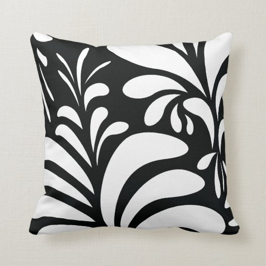 Retro black white modern swirls pillow