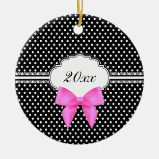 Retro black white polka dot pink bow 2017 new year ceramic ornament