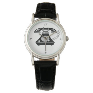 Retro Black White Telephone Cartoon Trendy Fancy Watch