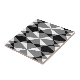 Retro Black White Triangle Diamond Squares Pattern Tile