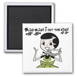 Retro Bling Ring Tshirts and Gifts Square Magnet