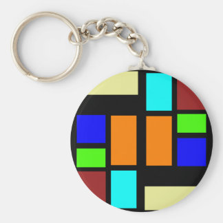 Retro Blocks Basic Round Button Keychain