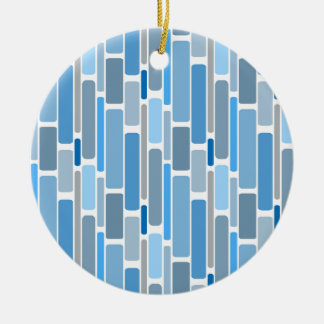 Retro Blocks Blue Grey Ceramic Ornament