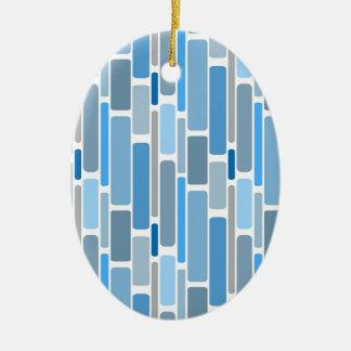 Retro Blocks Blue Grey Ceramic Ornament
