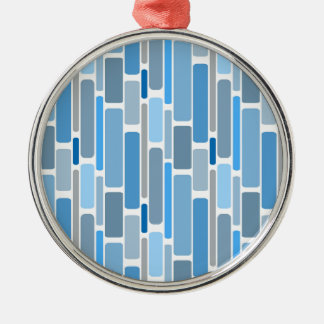 Retro Blocks Blue Grey Metal Ornament
