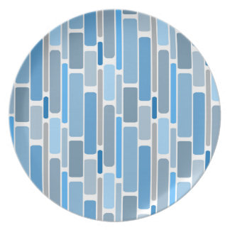 Retro Blocks Blue Grey Plate