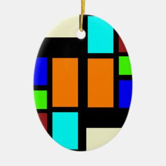 Retro Blocks Ceramic Oval Ornament