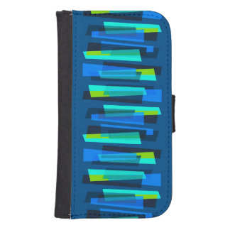 Retro Blue and Green Galaxy 4S Wallet Case