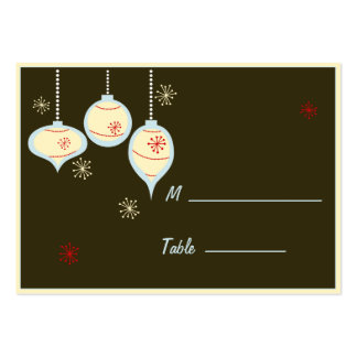 Retro Blue and Tan Christmas Placecards Large Business Card