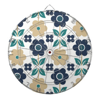 Retro Blue/Beige Flowers Dartboard
