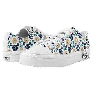 Retro Blue/Beige Flowers Low-Top Sneakers