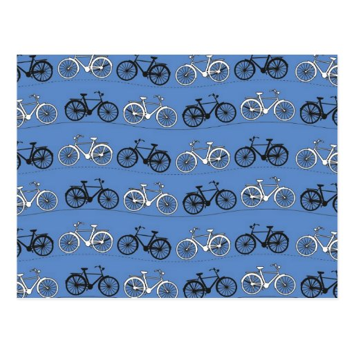 Retro Blue Bicycle Pattern Post Card