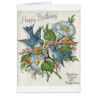 Retro Blue Bird Birthday Greeting Card