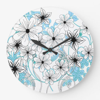 Retro Blue Black and White Floral Pattern Clocks