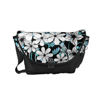 Retro Blue Black and White Floral Pattern Commuter Bag