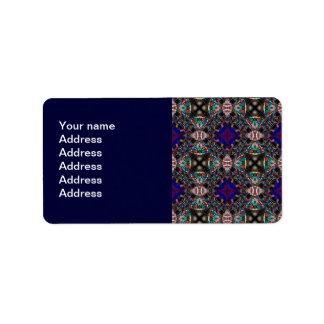 Retro Blue Blossom Fractal Pattern Label