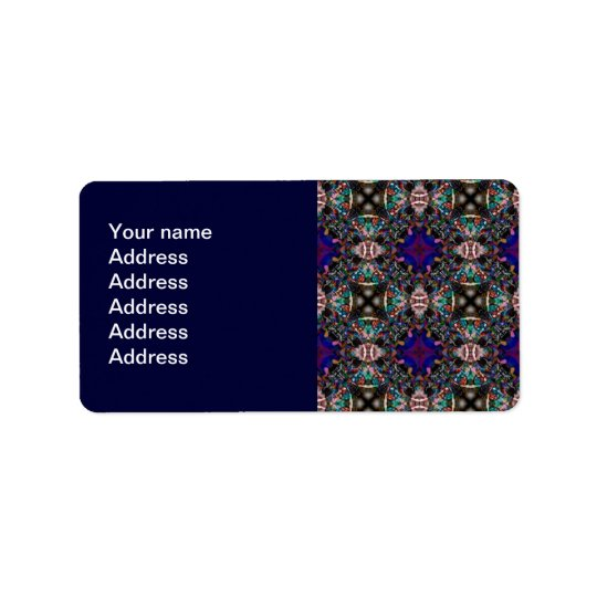 Retro Blue Blossom Fractal Pattern Label