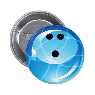 RETRO BLUE BOWLING BALL 2 INCH ROUND BUTTON