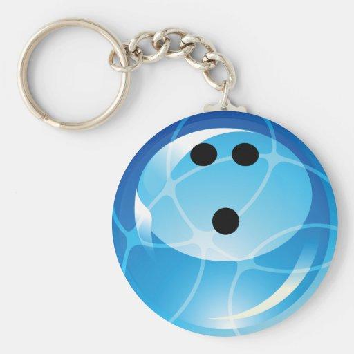 RETRO BLUE BOWLING BALL BASIC ROUND BUTTON KEYCHAIN