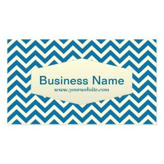 Retro Blue Chevron Professor Business Card