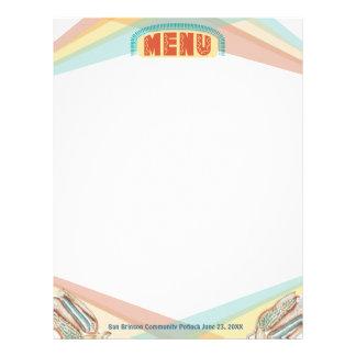 Retro blue corn Mexican food menu letterhead