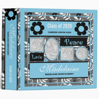 Retro Blue Floral Photo Collage Back to School Binders