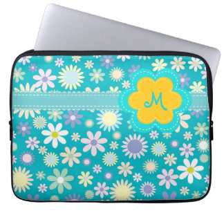 Retro Blue Flower Power Monogram Laptop Sleeve
