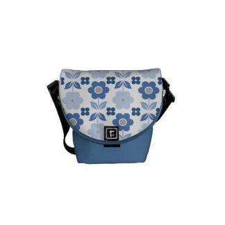 Retro Blue Flowers Commuter Bag