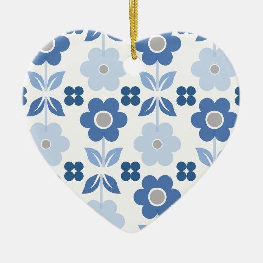 Retro Blue Flowers Dble-sided Heart Ornanent Ceramic Ornament