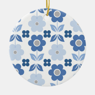 Retro Blue Flowers Dble-sided Ornament