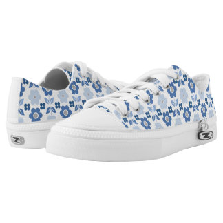 Retro Blue Flowers Low-Top Sneakers
