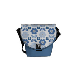 Retro Blue Flowers Messenger Bag