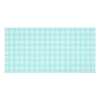 Retro Blue Gingham Checkered Pattern Background Photo Card