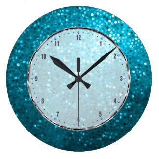 Retro Blue Glitter Large Clock